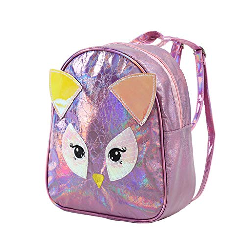 Coohole-Stationery & Accessories Women Girl Owl Laser Backpack Student Solid Color Travel School Crossbody Bag