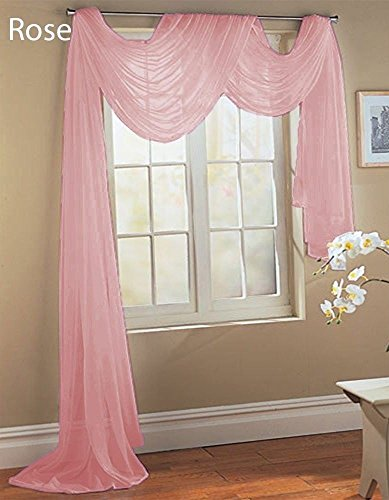 Gorgeous Home Linen ( LIGHT PINK ) 1PC Voile Sheer Curtain Panel Rod Pocket Drape / Scarf Swag Valance Window Treatment in Different Sizes Available (1 SCARF 37″ X 216″)