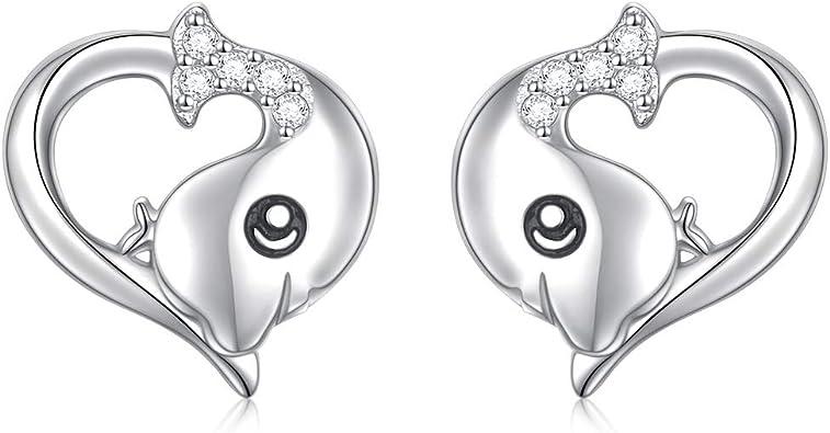 Gold Silver Hamsa Hand Stud Cute Love Heart Accessories Earring