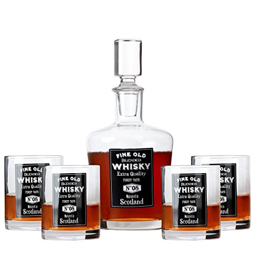 Lily's Home 6-Piece Whiskey Gift Set, Whiskey Decanter and Glasses Set