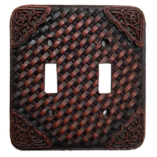Woven Leather Look Resin Double Switch Cover Plate