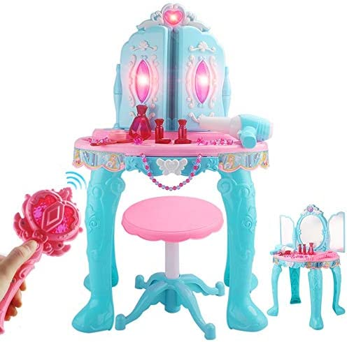 子供のための化粧台 シミュレーションプレイハウスドレッシングテーブル子供のリモートコントロールダブルドアの小さな王女のパズルのおもちゃガールドレッシングテーブルセット70.5x48.5x29cm 子供のための素晴らしい贈り物 (Color : Blue, Size : 70.5x48.5x29cm)