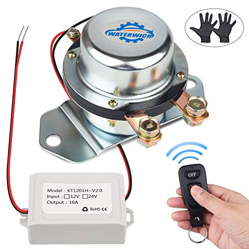 WATERWICH 12V Car Wireless Remote Control Battery Disconnect Switch Cut/Shut Off Marine Battery Switch 180Amp Electromagnetic Valve Terminal System for Van RV Small Truck Agricultural Vehicle (12V) ()