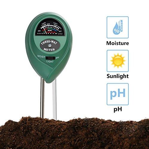 Discount Jellas Soil pH Meter, 3-in-1 Moisture Sensor Meter/Light/pH Soil Test Kits Test Plant Moisture Meter for Garden, Farm, Lawn, Indoor & Outdoor Use (Green) for sale