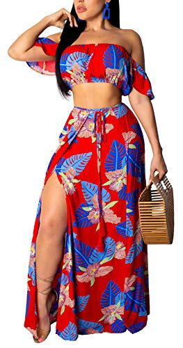 Womens Summer 2 Piece Outfits Floral Beach Crop Top and Side Slit Skirt High Split Maxi Dresses Skirt - Chiffon Set Dress