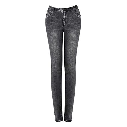 Zhounan Pantalones Vaqueros de Cintura Alta Pantalones de ...
