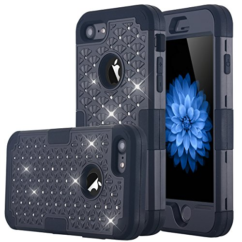 iPhone-7-Case-LONTECT-Hybrid-Heavy-Duty-Shockproof-Diamond-Studded-Bling-Rhinestone-Case-with-Dual-Layer-Hard-PC-Soft-Silicone-Impact-Protection-for-Apple-iPhone-7