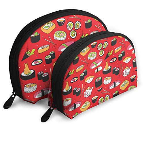 (ElephantAN Japanese Cuisine Sushi Roll Maki Multifunction Shell Portable Bags,Storage Bag,Buggy Bag,Travel Cosmetic Bags,Small Makeup Clutch,Pouch Cosmetic,Toiletries Organizer Bag)