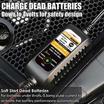 Powersports Boat and More ATVs Motorcycles RVs MOTOPOWER 12V 800mA Fully Automatic Battery Charger//Maintainer for Cars