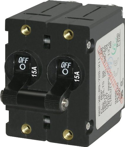 Blue Sea Systems A-Series Black Toggle Double Pole 15A Circuit Breaker