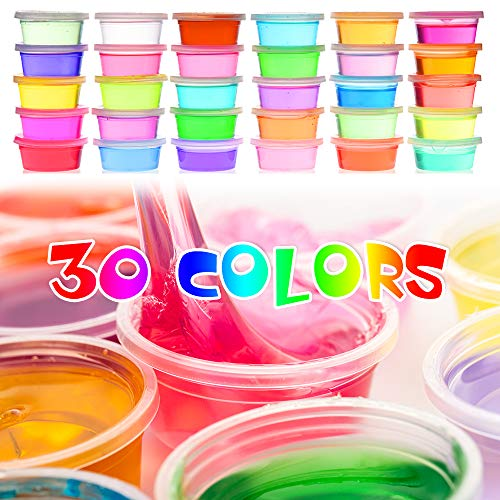 Slime Kit, 135 Pack Slime Making Kit 30 Crystal Slime, Glitter Jars, Charms, Sugar Paper, Foam Beads, Fishbowl Beads, Toy Cups, Slices, Air Dry Clay and Tools for Kids Girls by WINLIP by WINLIP (Image #2)