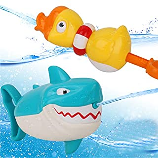Dwi Dowellin Water Toys Shark Duck Shooter Blaster for Bath Bathtub Beach Water Table Pool Toys for Toddlers Kids Boys Girls Age 2 3 4 5 6 7 8 Years Old