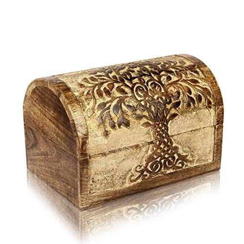 Tree Treasure Box - Christmas Gifts Handmade Decorative Wooden Jewelry Box With Tree Of Life Carvings Jewelry Organizer Keepsake Box Treasure Chest Trinket Holder Lock Box Watch Box 9 x 6 Inch Anniversary Gifts Her