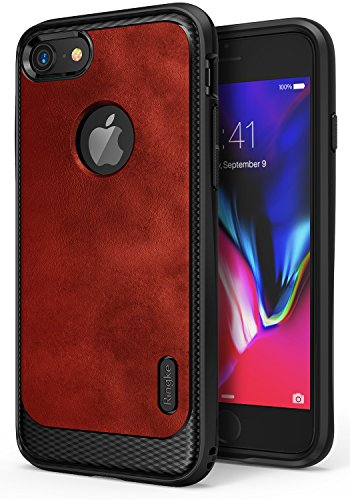 Ringke Flex S Compatible with Apple iPhone 7 Phone Case Coated Textured Leather Style Flexible TPU Advanced Shock Protection Durable Sophisticated Rustic Stylish Case for iPhone7 - Red