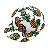 Cealu Unisex Men Women's Baseball Cap Pineapple Printed Snapback Hip-hop Hat Adjustable Summer Outdoors Trucker Dad Hats (White)
