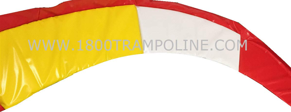 Family Store Network 12'6 Round Made in USA Deluxe Red, White, and Yellow Trampoline Pad Replacement