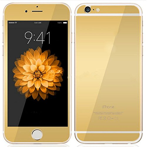 Mcoolbo Electroplating Mirror Effect Screen Tempered Glass Screen Protector Whole Body Protection Anti Scratches [Front and Back] for iPhone 6 & iPhone 6S 4.7inch (Gold)