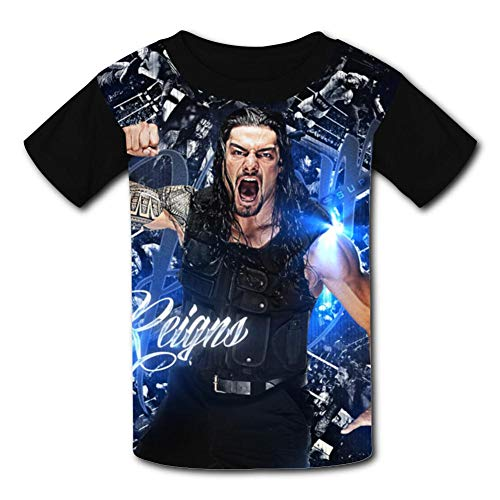 (T-Shirt Short Sleeve Kids Tee Shirt Black Roman Reigns Print for Girls)