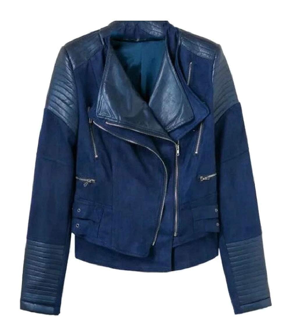 Dart bluee Sanderso Women's Short Lapel Slant Zipper Faux PU Leather Jacket Moto Biker Coat