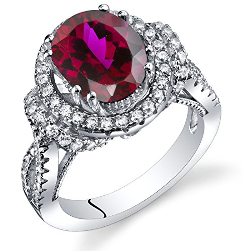 Ring Sterling Silver Oval Shape 3.75 Carats Size 7 (Oval Shape Ruby Ring)