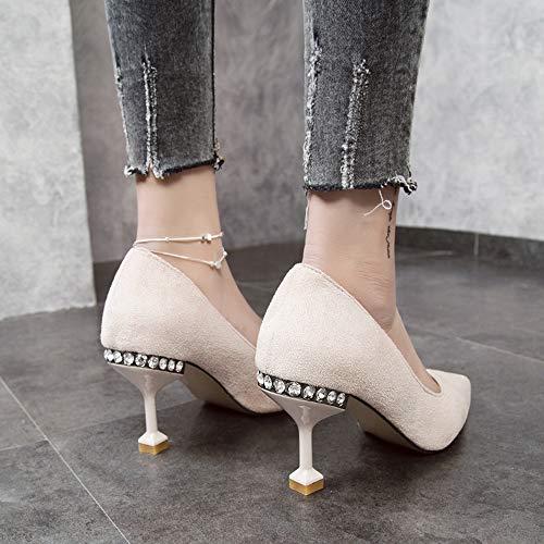 Rhinestones Acentuados Mujer Primavera Zapatos Boda nuevos de Tacones Moda Zapatos únicos de Jqdyl de Baja Helados y Verano Zapatos Altos Boca wRxS6yqY