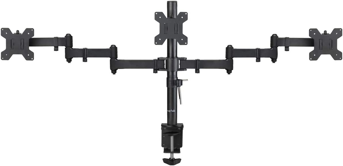 Suptek Triple LED LCD Monitor Desk Mount Heavy Duty Fully Adjustable Stand for 3 / Three Screens up to 27 inch (MD6463)