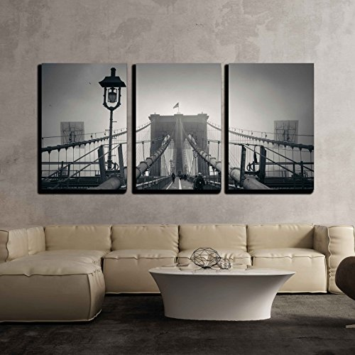 Walk on Brooklyn Bridge in a Foggy Day in Downtown Manhattan New York City x3 Panels
