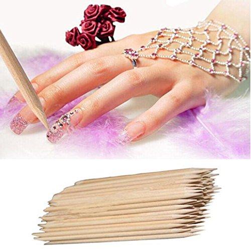 Orange Wood Sticks, Nail Art, Cuticle Pusher Remover, Manicure Pedicure Tool (As show) -