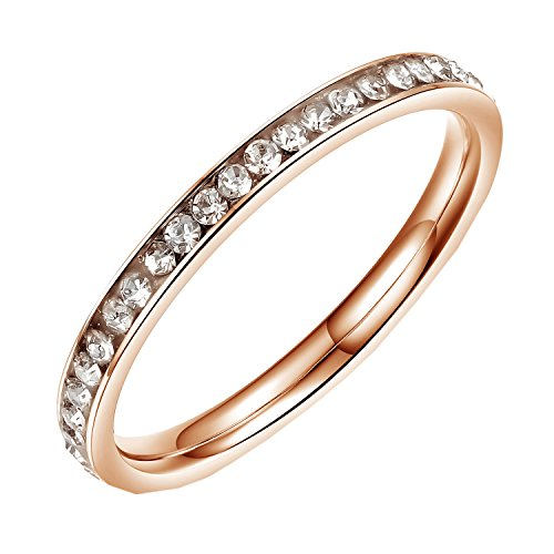 PMTIER Women's 2MM Micro Pave Cubic Zirconia Thin Rose Gold Enternity Wedding Ring Size 6