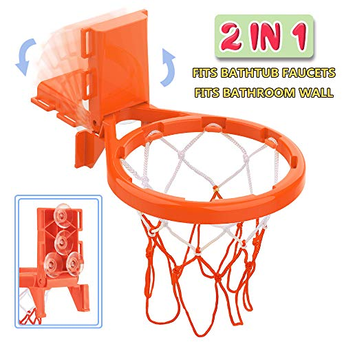 Bath Toy Basketball Hoop & Balls Playset(2 in 1 Design), with 4 balls and Mesh Bag, Bathroom Slam Dunk&Bathtub Shooting Game Gadget, for Kid Boy Girl Child Gift, With Strong Suction Cup and Magic Rop by Punertoy (Image #3)