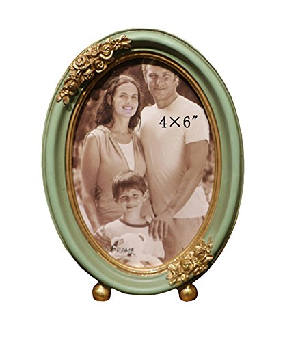 SIKOO Vintage Oval Picture Frame 4x6 Family Boys Girls Tabletop Photo Frame Antique Home Decor, Green