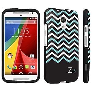 DuroCase ? Motorola Moto G 2nd Gen. 2014 Hard Case Black - (Black Mint White Chevron Z)