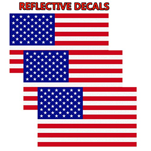Sticker Decal Car Vinyl American (CREATRILL Reflective Subdued American Flag Sticker 3