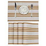 SHACOS Kitchen Table Placemats Set of 6 Woven Vinyl Placemats Stripe Wave Place Mats Wipe Clean Table Mats (6, Gold White)