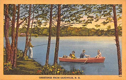Sandwich New Hampshire Greetings Fishing and Boating Vintage Postcard J926984