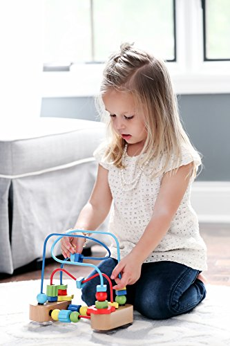 Classic Bead Maze Activity Cube Wooden Toy for Baby, Toddler – Small Wooden Roller Coaster Sliding Beads On Sturdy Wire Frames w/ Suction Cup – Classic First Developmental & Educational Toys for 1 &