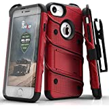 Zizo BOLT Series compatible with iPhone 8 Case Military Grade Drop Tested with Tempered Glass Screen Protector, Holster iPhone 7 case RED BLACK
