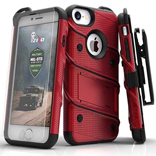 (Zizo Bolt Series Compatible with iPhone 8 Case Military Grade Drop Tested with Tempered Glass Screen Protector, Holster iPhone 7 case RED Black)