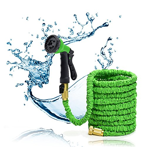 Green 50FT Stronger Double Latex Inner Tube Prevent Leaking Strongest Expandable Solid Brass (With Valve) Garden Hose with Extra Strength Fabric and Professional Spray Gun Tap to Pressure Washer