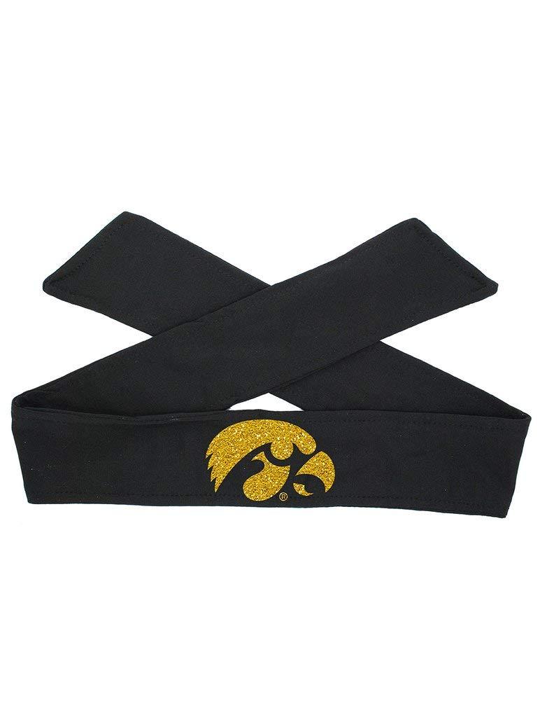 Violet Victoria Iowa Hawkeye Logo Tie Headband - Black Tie/Gold Sparkle