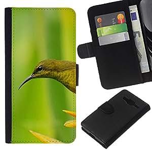 KLONGSHOP // Tirón de la caja Cartera de cuero con ranuras para tarjetas - Pájaro verde de la flor de primavera - Samsung Galaxy Core Prime //