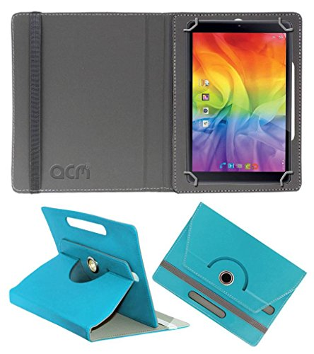 Acm Rotating Leather Flip Case Compatible with Iball Slide Wondro 10 Tablet Cover Stand Greenish Blue