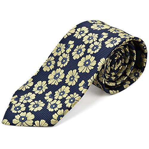 Ike Behar Boys 52'' Navy Blue And Yellow Floral Tie by Ike Behar