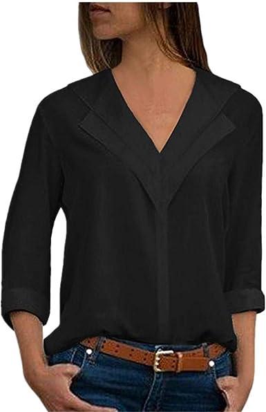 MORETIME Blusas y Camisa de Mujer, Moda Mujer Gasa Camiseta sólida Cuello en V Ropa Office Ladies Plain Elegantes Básica Blusa de Bluas de Mujer Algodón Elegante Casual Invierno Primavera Shirts: Amazon.es: