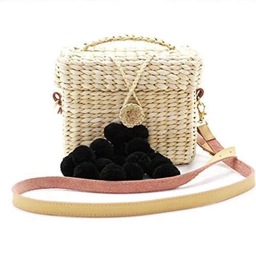 artisanal noir luoyu Main de à l'épaule boule Sac Créatif plage Voyage Paille Extérieure été pour Sac Style Tissage Sac à Femmes Rectangle Su Bdgq7w7