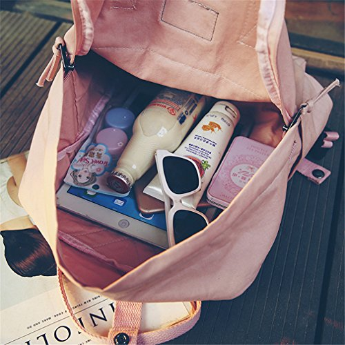Backpacks L28cm W10cm Bags New School Canvas Women Pink Backpack Red H34cm PZHgpqnH