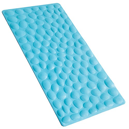 OTHWAY Non-Slip Bathtub Mat Soft Rubber Bathroom Bathmat with Strong Suction Cups (Blue) (Baby Resistant Bath Mat Mold)