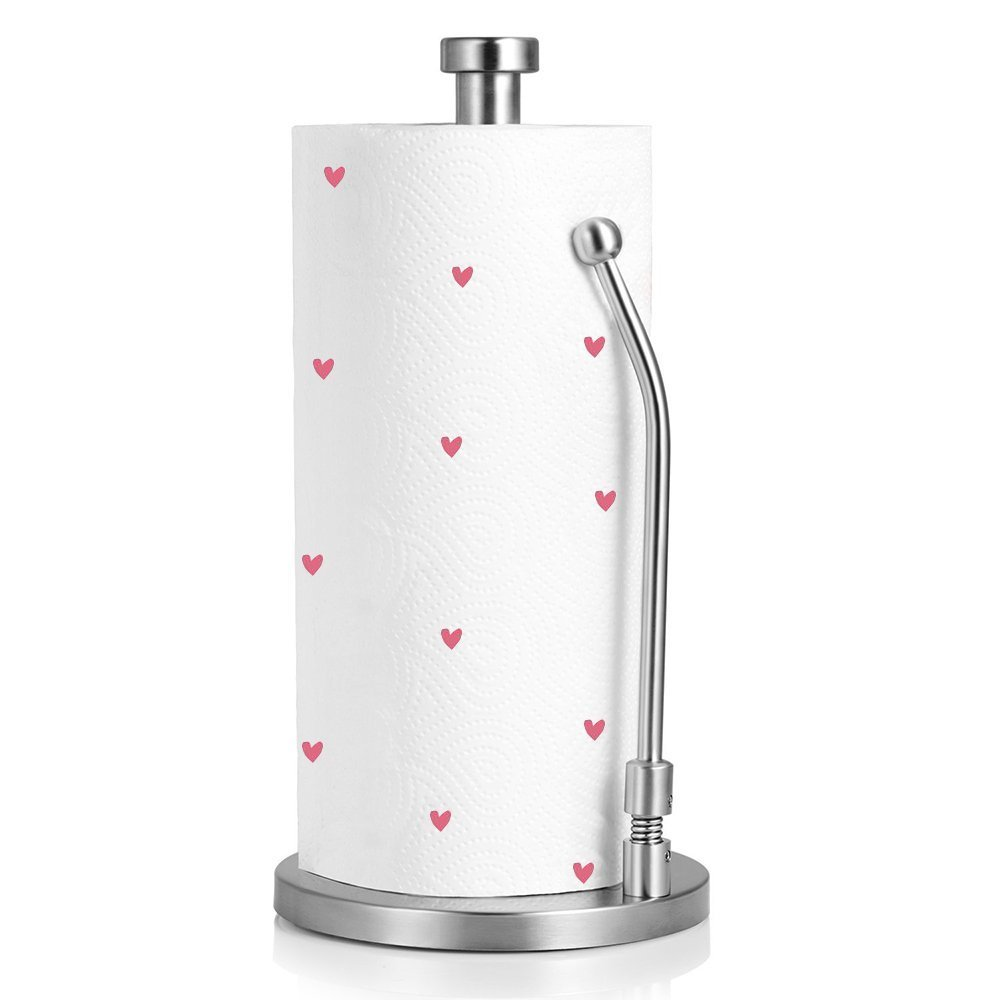 Paper Towel Holder,Kitchen Paper Towel Dispenser Heavy Duty Stainless Steel Countertop Napkin Holders Roll Holder Up Makeup Remover Standing Tabletop Tissue Holder by IUMÉ (Image #1)