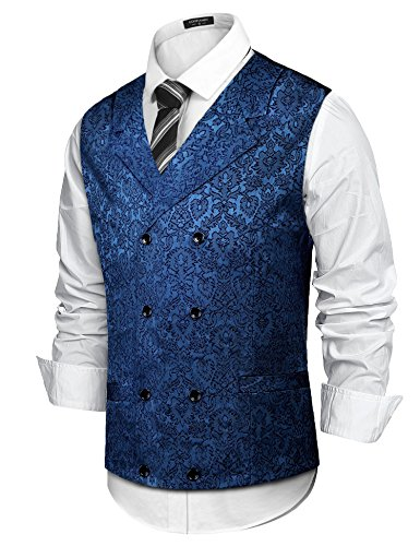 Simbama Men's Paisley Suit Vest Slim Fit Double Breasted Floral Wedding Classic Tuxedo Dress Waistcoat (Dress Coat Jacquard)
