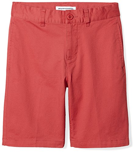 Amazon Essentials Little Boys' Flat Front Uniform Chino Short, Washed Red ,5]()